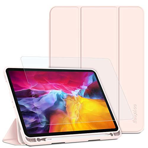 EasyAcc Hulle Panzerglas Kompatibel mit iPad Pro 11 2020 mit Stifthalter Ultra Dunn Smart Cover Schutzhulle Auto SchlafAufwach Funktion PU Leder HulleRosegold