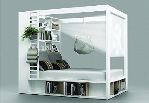QMM TraumMöbel Himmelbett Doppelbett Calgary weiß Ehebett mit Regalen Lattenrost Bettkasten Schlafzimmer NEU