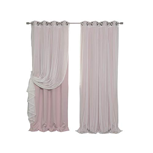 """Best Home Fashion Mix & Match Tulle Sheer Lace & Blackout Curtain Set - Antique Bronze Grommet Top - Dusty Pink - 52""""W X 84""""L - (2 Curtains and 2 Sheer curtains)"""