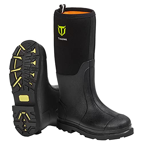 winter rubber boots TIDEWE Rubber Work Boot for Men with Steel Shank, Waterproof Anti Slip Hunting Boot, Warm 6mm Neoprene Hunting Mud Boot, Durable Black Rubber Boot for Farming, Gardening, Fishing, Size 5-14