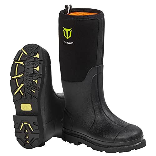 TIDEWE Rubber Work Boot for Men with Steel Shank, Waterproof Anti Slip Hunting Boot, Warm 6mm...