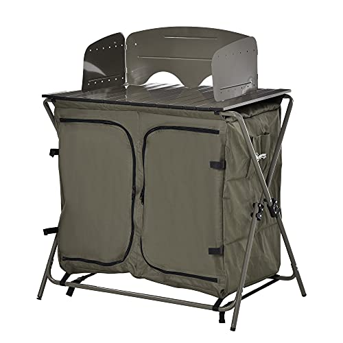 Outsunny Campingschrank Küchenbox Tragetasche Windschutz Tragetasche Stahl 600D Oxford-Gewebe Grün 57 x 94 x 109 cm