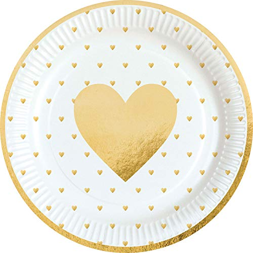 Amscan 9903114 8 Papierteller Everyday Love, Mehrfarbig