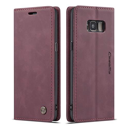 QLTYPRI Hülle für Samsung Galaxy S8, Vintage Dünne Handyhülle mit Kartenfach Geld Slot Ständer PU Ledertasche TPU Bumper Flip Schutzhülle Kompatibel mit Samsung Galaxy S8 - Rot