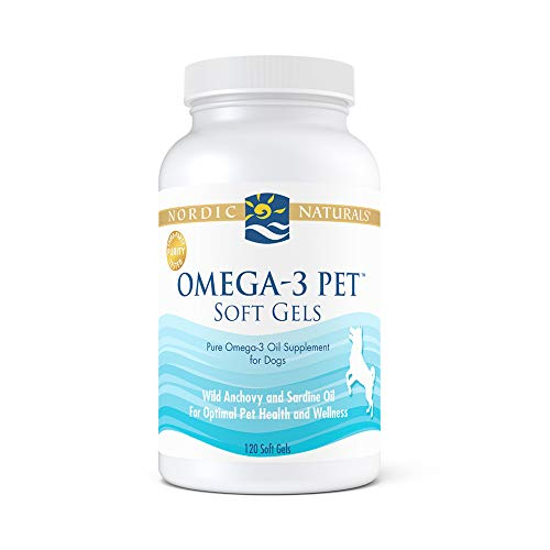 Nordic Naturals Omega-3 Pet, Unflavored - 330 mg Omega-3 Per Soft Gel - 120 Soft Gels - Fish Oil for Dogs with EPA & DHA - Promotes Heart, Skin, Coat, Joint, & Immune Health - Non-GMO
