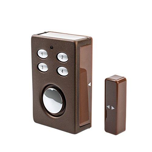 KOBERT GOODS SP65 braun drahtloser Tür-Fenster oder Vitrinenalarm Einsatz als Alarmanlage Einbruchsschutz Home-Security Mit PIN-Code-Eingabe Magnet-Vibrations-Sensor 130 db-Sirene
