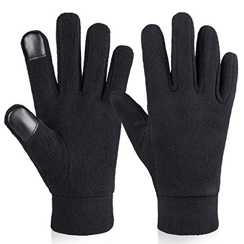 Running Gloves Touch Screen Winter Warm Glove Liners Elastic Cuff Soft Thermal Polar Fleece in Cold Weather for Men and Women (Black,X-Large)