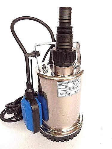!!Profi!! Flachsaugende Tauchpumpe aus hochwertigen Edelstahl INOX Abschalthöhe 5mm inkl. Schwimmerschalter, Fördermenge: 7500l/h, Spannung: 230V / 50Hz, Leistung 400 Watt.