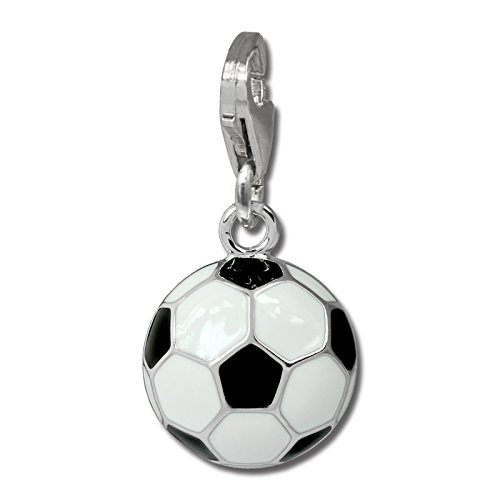 SilberDream Charm 925er Silber Emaille Armband Anhänger s/w Fußball FC880W