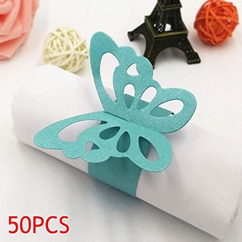 LLine Perlglanz 50 Stück Schöne Schmetterling Papier Serviettenringe Zubehör für Hochzeitsfeier Dekoration, blau