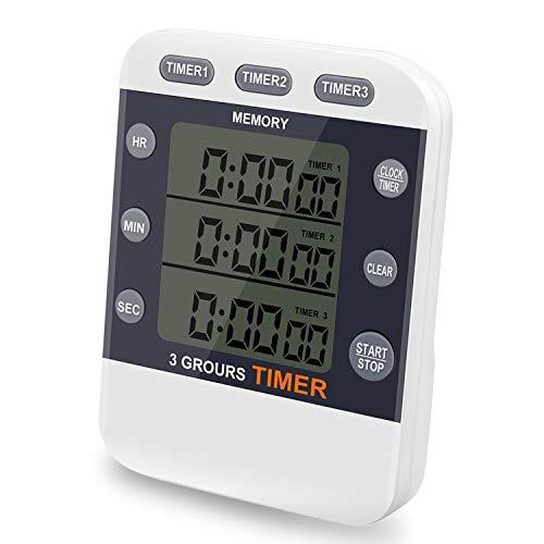 CEEBON Digital-Timer bis 100Stunden, 3-in-1-Funktion mit Timer, Stoppuhr und Uhrzeit, großes LCD-Display, lauter Alarm und Magnethalterung