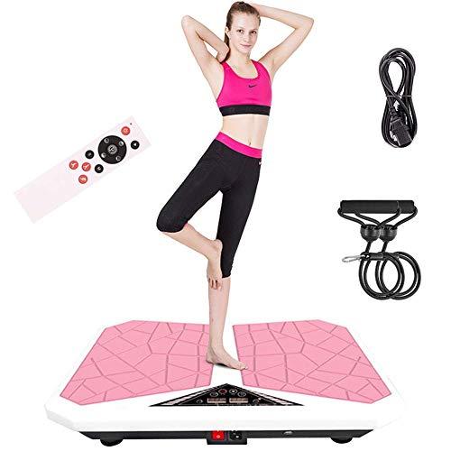 AYCPG Vibrierende Plattformen Fitnessgerät Vibrations Fitness Plattform Ganzkörpertrainer Massage Bluetooth Musik mit Zwei Bands und Fernbedienung for Entspannung und Tonen Last 200 kg Rosa lucar