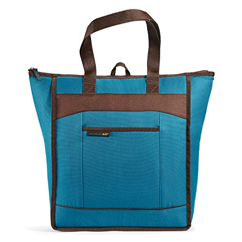Rachael Ray ChillOut Thermal Tote Bag for Grocery Shopping, Transport Cold or Hot Food, Insulated, Reusable, Marine Blue with Brown Trim