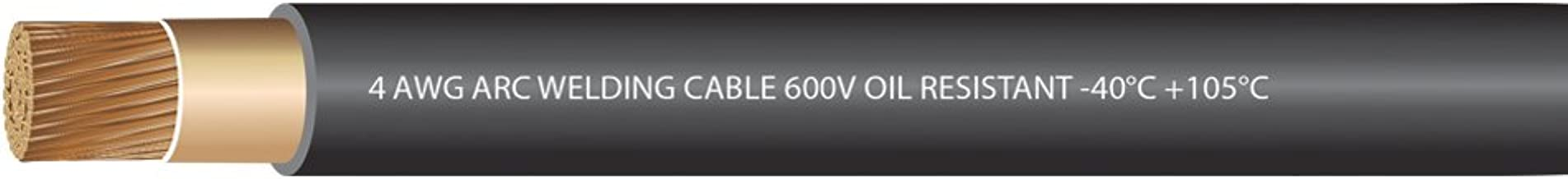 EWCS 4 Gauge Premium Extra Flexible Welding Cable 600 Volt - Black - 25 Feet - Made in the USA