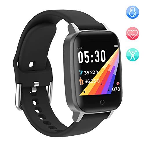 YoYoFit Smartwatch Fitness Tracker mit Pulsuhr, Fitness Armband Uhr mit Temperaturmessung,1.3 Zoll Touchscreen Sportuhr Smartwatch mit Schlafmonitor, Schrittzähler, Aktivitätstracker für Damen Herren