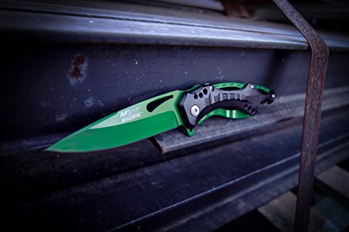 MTech USA Ballistic MT-A705GN Spring Assist Folding Knife, Green Straight Edge Blade, Black/Green Handle, 4.5-Inch Closed