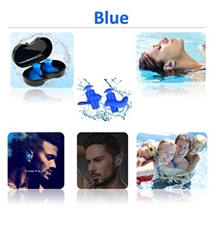 Swimming Ear Plugs,5-Pairs PackWaterproof Reusable Silicone Swimming EarPlugs for Swimming Showering Bathing Surfing Snorkeling and Other Water Sports,Suitable for Kids and Adults