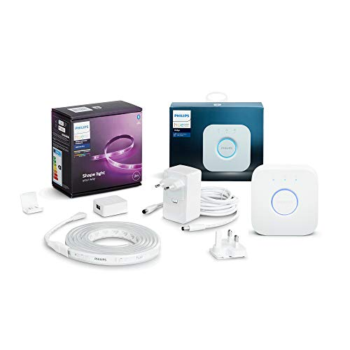 Philips Hue White & Col. Amb. Lightstrip Plus 2m Basis + Hue Bridge, 16 Mio. Farben, steuerbar via App, kompatibel mit Amazon Alexa (Echo, Echo Dot)