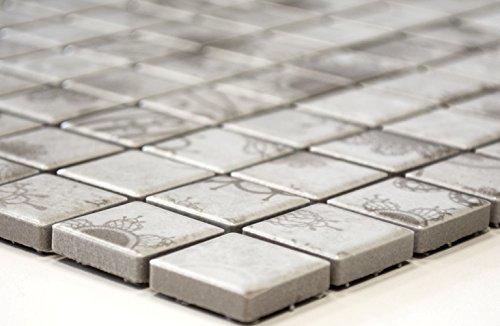 Mozaïek-netwerk mozaïektegelsector vierkant Laceo Grey keramiek mozaïek muur tegelspiegel douchebak 60 x 100 mm /1 Handmuster ca. 6x10 cm