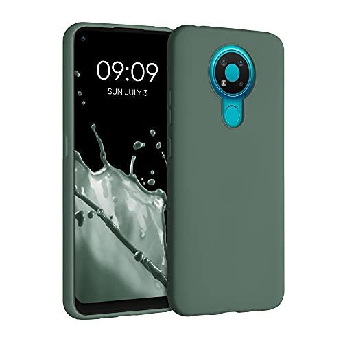 kwmobile Custodia Compatibile con Nokia 3.4 - Cover in Silicone TPU - Back Case per Smartphone - Protezione Gommata Verde Militare