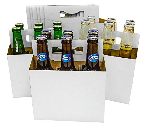 6 Pack Cardboard 12 oz Beer/Soda Carrier by C-Store Packaging (Pack of 24) (White-24pk) FAST SAME DAY SHIPPING