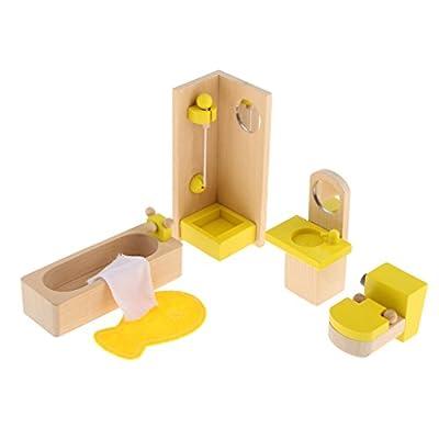 Sharplace Jeux de Rôle Ensembles de Meubles Miniature Jouets en Bois Accessoires pour Maison de Poupée Cadeau Noël Fête Anniversaire pour Enfant Fille
