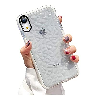 KUMTZO Compatible iPhone XR Case, Crystal Clear Slim Diamond Pattern Soft TPU Anti-Scratch Shockproof Protective Cover for Women Girls Men Boys with iPhone XR 6.1 inch - White