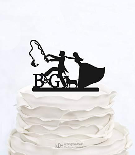 Ad4ssdu4 Custom Cake Topper Angeln Initialen Cake Topper Hochzeitstorte Topper mit Hund Benutzerdefinierte Cake Topper Personalisierte Cake Topper