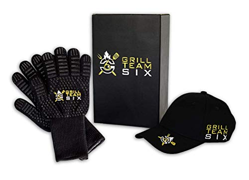 BBQ Gloves for Grilling by GRILL TEAM SIX - Extreme Heat Gloves Resistant 932°F - Perfect for Oven...