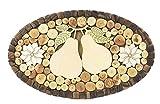 Dessous de plat en bois de genévrier Viki pour casseroles, plats et poêles - ornement ov...