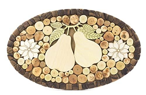 Dessous de plat en bois de genévrier Viki pour casseroles, plats et poêles - ornement ovale fait à la main - 4 types de bois parfumés.