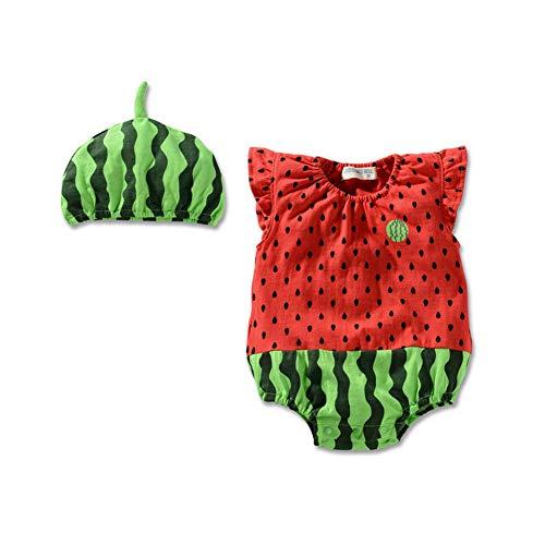 mxdmai Bebé Trajes infantil creativa bebé Mono lindo del verano de los cabritos de los mamelucos recién nacido Puentes Mono corto con Sombrero de 7-12 meses sandía 3