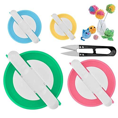 WEGETIT 4 Stück Pompom Maker Bommel Maker zum Basteln Fluff Ball Weaver Kit Bommelmacher Bommelschablone Fluff Kugel DIY Nadel Handwerk Tool Kit