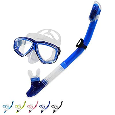 BPS Snorkeling Package Set/Scuba Diving Full Set/Snorkel Set - Snorkel Tube and Diving Mask (Blue)