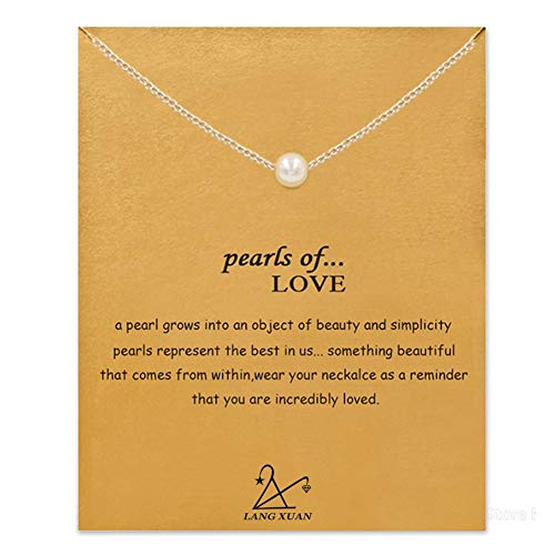 Friendship Bar Necklace Lucky Key Star Pearl Circle Pendant Necklace for Women Gift Card … (Yellow, 20) (Silver)