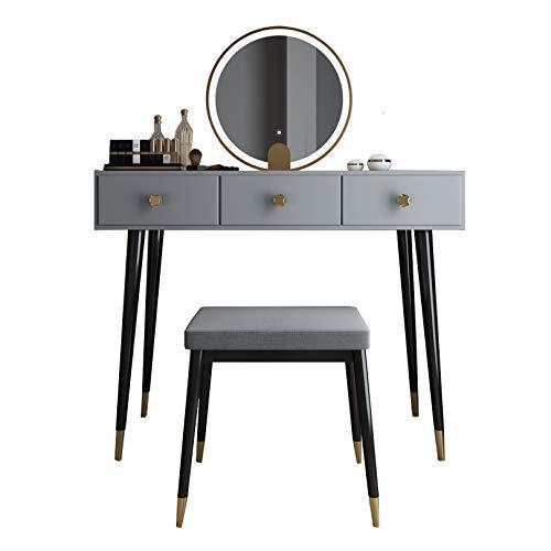 LIYIN Waschtisch-Set, Schlafzimmer Make-up Schminktisch mit LED-beleuchteten Spiegel, 3 Schubladen, moderner Schreibtisch mit gepolstertem Hocker für Mädchen Frauen