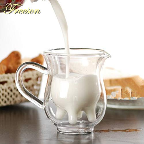 Cute Cow Double Layer Glass Mug Milk Juice Coffee 250ml Creamer Cup with Handle - Transparent