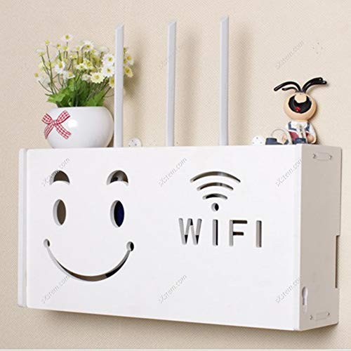 Yizunnu Estante para enrutador Wifi blanco para TV Set-top Rack para colgar en la pared, sin formaldehído, organizador de oficina de madera de plástico para decoración de la habitación, patrón C