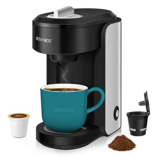 EZBASICS Single Serve Coffee Maker Brewer Compatible with K-Cup Pod, Ground Coffee & Loose-Leaf Tea, Black, Mini Coffee Machine comes with Reusable K Cups