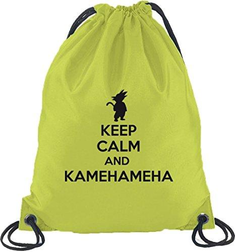 Shirtstreet24, Keep Calm And Kamehameha, Turnbeutel Rucksack Sport Beutel, Größe: onesize,Limone