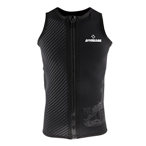 MonkeyJack Mens Wetsuits Vest Premium 3mm Neoprene Top Sleeveless Front Zipper Shirt Scuba Diving Surfing Swim Snorkel Suit - Black, M