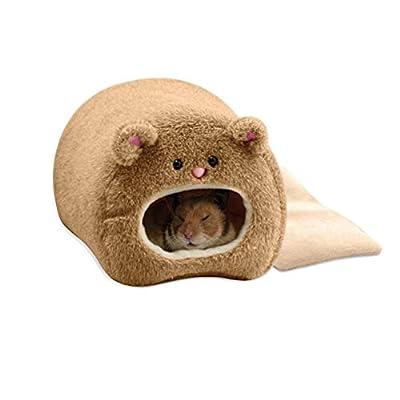 ZT TRADE Pet Bed Winter Warm Soft Plush Cat Kitten House Hamster Cute Bear Shape Hamster Kennel Hamster Cage House Pet Supplies by ZT TRADE