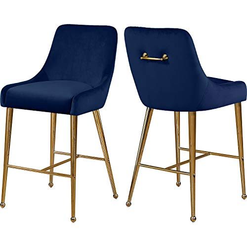 Meridian Furniture Owen Collection Modern   Contemporary Velvet Upholstered Counter Stool with Polished Gold Metal Legs, Set of 2, 23' W x 21' D x 40' H, Navy