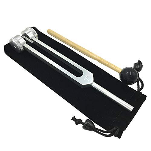 Sharplace Kit de Diapasón Y Mazo Duradero de 128 Hz para Meditación, Relajación, Plata