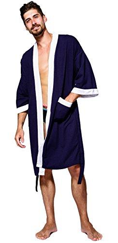 SEMIR Herren Waffelpique Bademantel Morgenmantel Nachtwäsche Kimono Saunamantel mit Taschen und Bindegürtel aus Baumwolle Marine XL