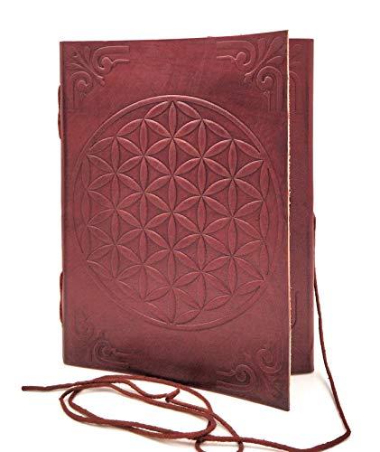 Chic & Zen - diario, agenda, blocchetto per appunti, Vera Pelle, Vintage, Fiore di Vita, 13 cm x 17 cm, carta premium