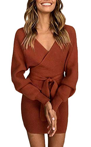 ZIYYOOHY Damen Elegant Pulloverkleid Strickkleid Tunika Kleid V-Ausschnitt Langarm Minikleid Mit Gürtel (L(40), Ziegelrot)