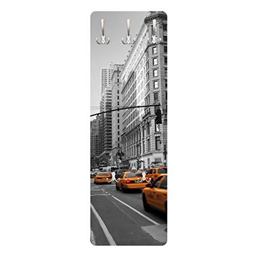 Bilderwelten Appendiabiti - New York, New York! - Appendiabiti design, attaccapanni, appendiabiti da parete, attaccapanni a muro, pannello appendiabiti in legno, appendiabiti da muro, appendiabiti moderni, Dimensione: 139cm x 46cm