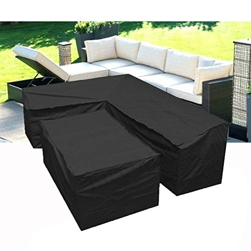 L Shaped Garden Furniture Covers - Protective Cover for Corner Sofa with Durable Hem Cord, 210D L Shaped Outdoor Sofa Cover L Shaped Patio Couch Cover