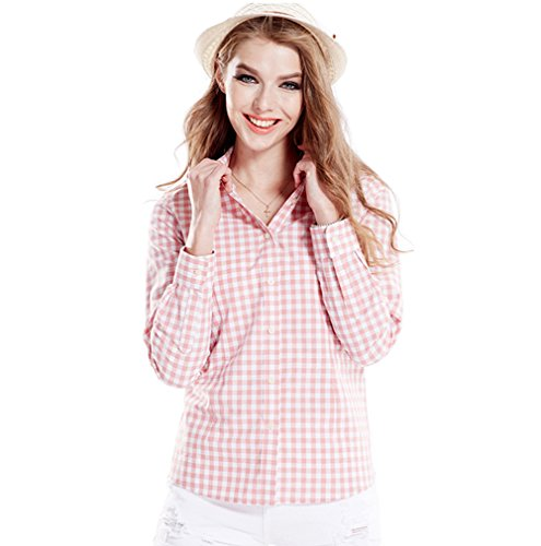 Tortor 1Bacha Women's Gingham Long Sleeve Button Down Plaid Shirt Pink White 0